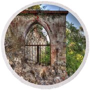 Abandoned Places Iron Gate Over The Sea - Cancellata Sul Mare Round Beach Towel