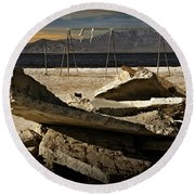 Round Beach Towel featuring the photograph Abandoned Ruins On The Eastern Shore Of The Salton Sea by Randall Nyhof