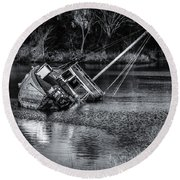 Abandoned Ship In Monochrome Round Beach Towel