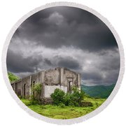 Abandoned Site Round Beach Towel by Charuhas Images