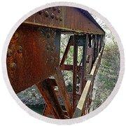 Abandoned Steel Bridge Nashville Indiana Round Beach Towel