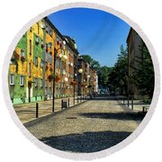 Round Beach Towel featuring the photograph Abandoned Street by Mariola Bitner