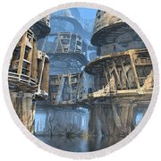 Abandoned Swamp Village Round Beach Towel