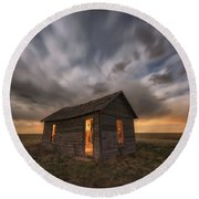 Round Beach Towel featuring the photograph Abandoned Winds by Darren White