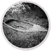 Round Beach Towel featuring the photograph Abandoned Wooden Boat Alaska by Edward Fielding