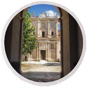 Abbey Of The Holy Spirit At Morrone In Sulmona, Italy Round Beach Towel