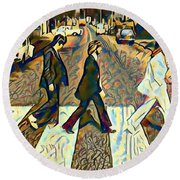 Abbey Road Watercolor Round Beach Towel