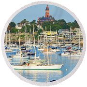 Abbot Hall Over Marblehead Harbor From Chandler Hovey Park Round Beach Towel