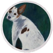 Round Beach Towel featuring the painting Abby by Jamie Frier