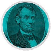 Round Beach Towel featuring the photograph Abe On The 5 Aqua Blue by Rob Hans
