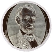 Round Beach Towel featuring the photograph Abe On The 5 B W Inverted Brown by Rob Hans