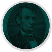 Round Beach Towel featuring the photograph Abe On The 5 Greenishblue by Rob Hans