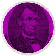 Round Beach Towel featuring the photograph Abe On The 5 Purple by Rob Hans