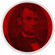 Round Beach Towel featuring the photograph Abe On The 5 Red by Rob Hans