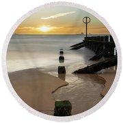 Aberdeen Beach Reflections Round Beach Towel
