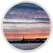 Aberdeen Lighthouses Round Beach Towel
