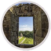 Round Beach Towel featuring the photograph Aberdour Castle by Jeremy Lavender Photography