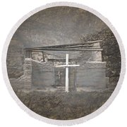 Abiquiu Nm Church Ruin Round Beach Towel