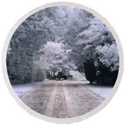 Round Beach Towel featuring the photograph Abney Park Entrance by Helga Novelli