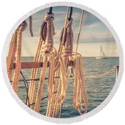 Aboard The Edith M Becker Round Beach Towel
