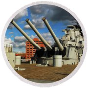Round Beach Towel featuring the photograph Aboard The Uss Wisconsin by James Kirkikis