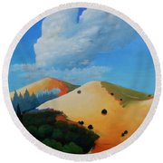 About Clouds Round Beach Towel