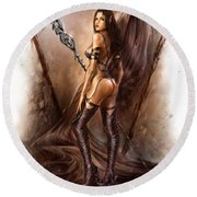 About Elves And Steel  Round Beach Towel