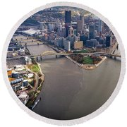 Above Pittsburgh In  Color  Round Beach Towel