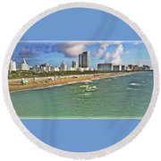 Above South Beach  Round Beach Towel