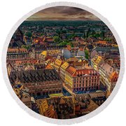 Above Strasbourg Round Beach Towel