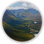 Round Beach Towel featuring the painting Above The Arctic Circle by John Haldane