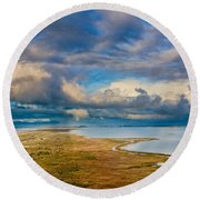 Above The Bay Round Beach Towel