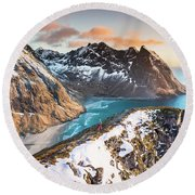 Above The Beach Round Beach Towel by Alex Conu