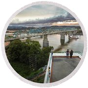 Above The Bluff, Musuem View Round Beach Towel