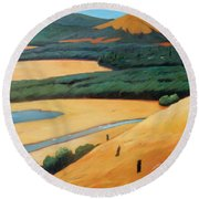 Above The Highway Round Beach Towel