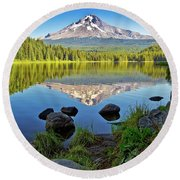Above The Lake Round Beach Towel