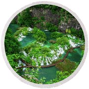 Above The Paths And Waterfalls At Plitvice Lakes National Park, Croatia Round Beach Towel
