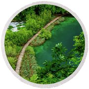 Above The Paths At Plitvice Lakes National Park, Croatia Round Beach Towel