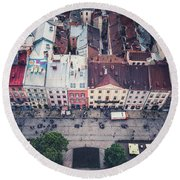 Above The Rooftops Round Beach Towel
