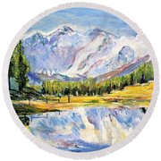 Above The Sea Level Round Beach Towel