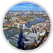 Above The Shadow Of The Shard Round Beach Towel by Jim Albritton