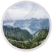 Above The Silver Lake Round Beach Towel