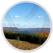 Above The Vines Round Beach Towel