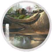 Above The Water Line Round Beach Towel by Hal Tenny