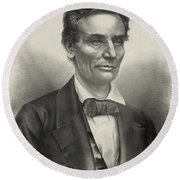 Round Beach Towel featuring the photograph Abraham Lincoln - As A Presidential Candidate by International  Images