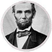 Abraham Lincoln -  Portrait Round Beach Towel
