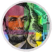 Abraham Lincoln - $5 Bill Round Beach Towel