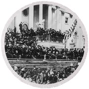 Abraham Lincoln Gives His Second Inaugural Address - March 4 1865 Round Beach Towel by International  Images