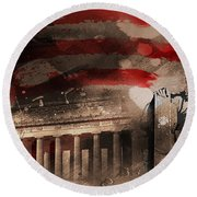Round Beach Towel featuring the painting Abraham Lincoln by Gull G
