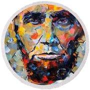 Abraham Lincoln Portrait Round Beach Towel by Debra Hurd